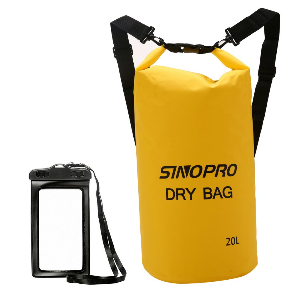 SinoPro Waterproof Dry Bags + Waterproof Waist Pouch, Perfect for Kayaking / Boating / Canoeing / Fishing / Rafting / Swimming / Camping / Snowboarding (Yellow, 20L)