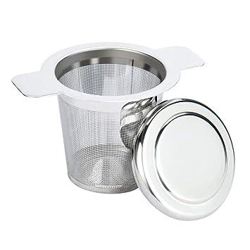 Infusor de té de acero inoxidable con filtro y tapa para ...
