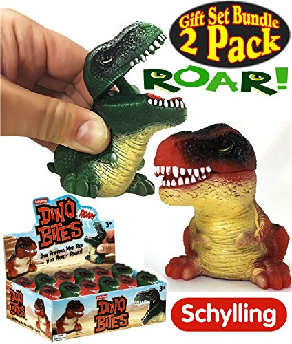 Schylling Squeeze & Roar Dino Bites (Dinosaurs) Green & Red Gift Set Bundle - 2 Pack (Schylling Robot)