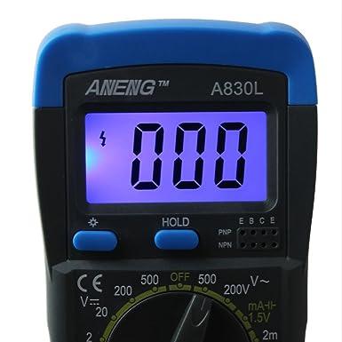 Blu + Nero UEETEK A830L Multimetro Digitale Digitale Digitale Multimetro DC AC Tensione Diodo Freguency Multitester