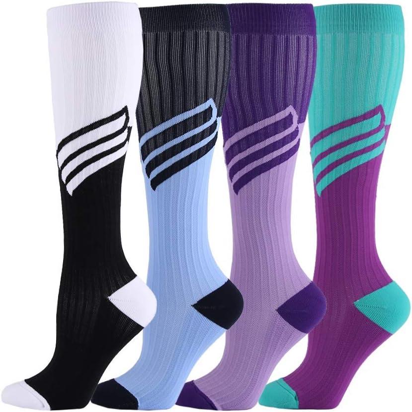 HLTPRO Compression Socks for Women /& Men Nurse 4 Pairs Best for Running Flight