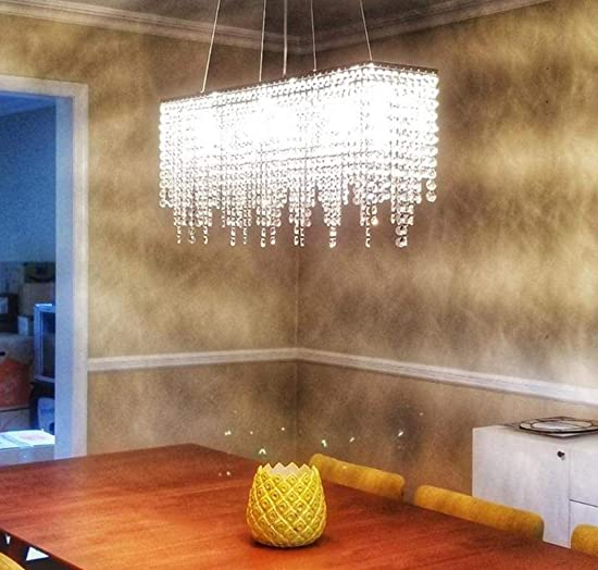 Moooni Rectangular Crystal Chandelier Modern Rectangle Linear Chandeliers Raindrop Island Lighting Fixture for Dining Room Kitchen L31.5 x W8 7 Lights