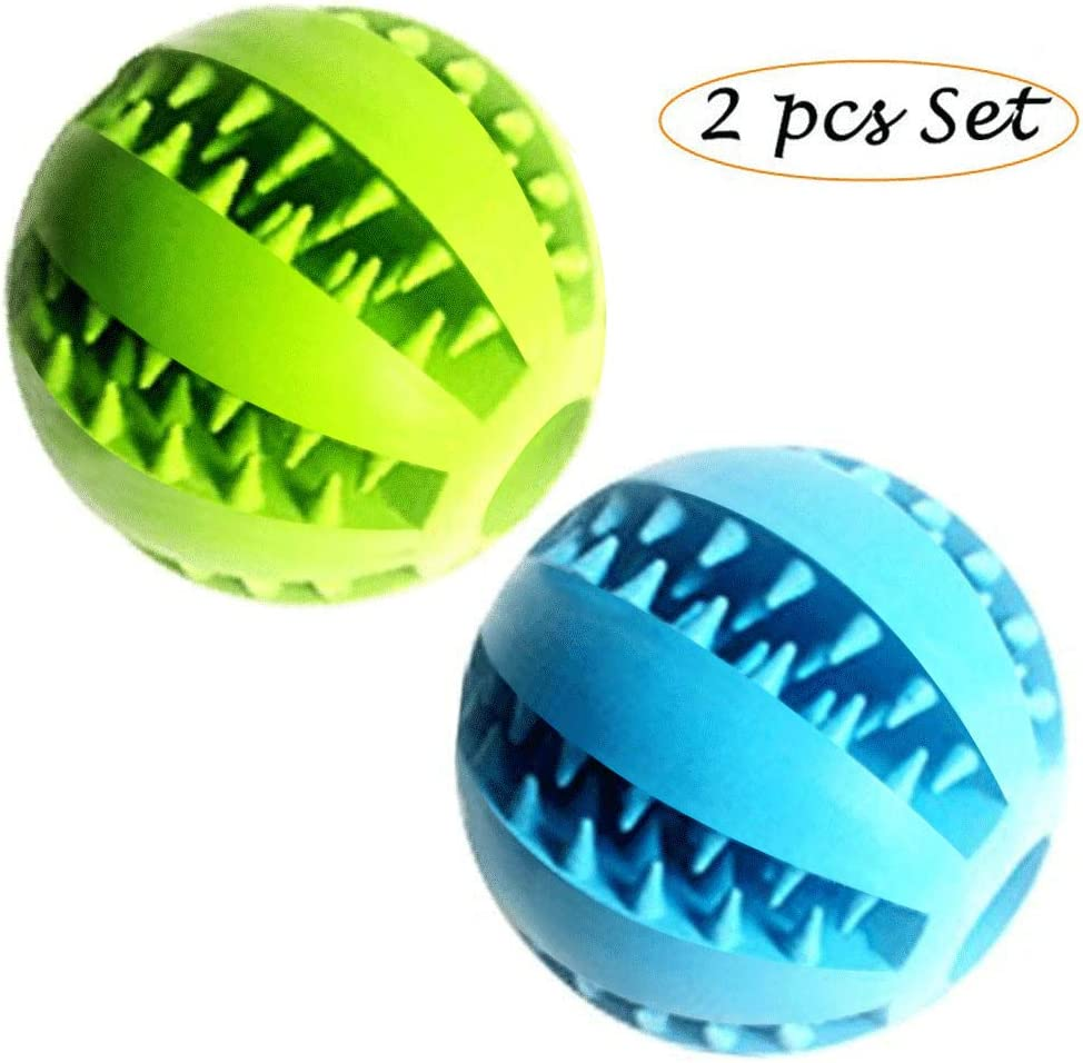 Feixun Pets - Pelota de juguete para perros, pelota de goma para comida de perro, juguete para limpieza de dientes de perro, juguetes interactivos para perros