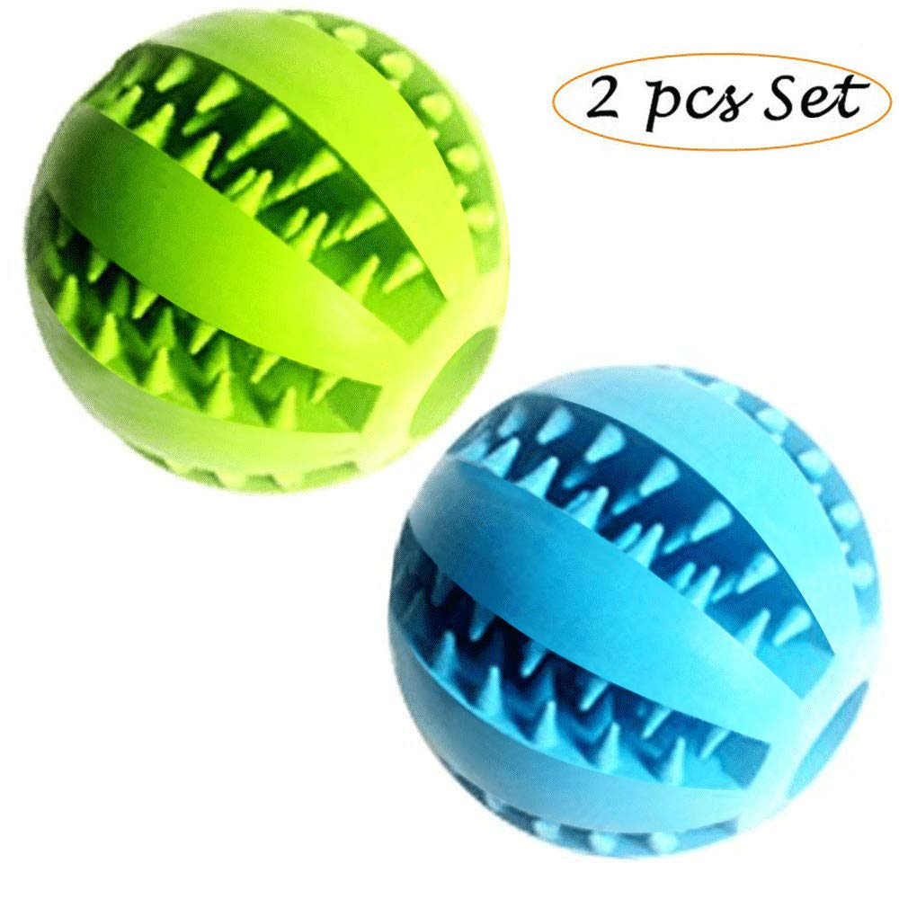 Feixun Pets Dog Treat Toy Ball, Rubber Dog Food Ball,Dog Tooth Cleaning Toy Ball, Interactive Dog Toys (1bluee + 1Green) 7.6cm