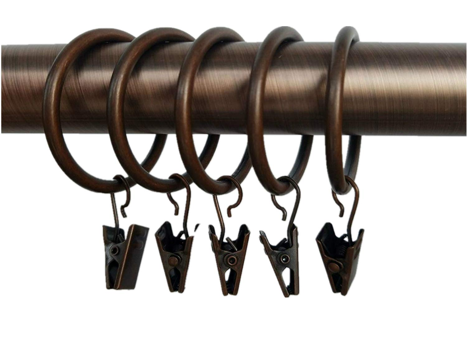 Xin store 40-pack Copper Metal Curtain Rings with Clips (1.5'')