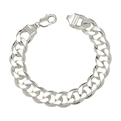 Amazon Com 14 5mm Mens Solid 925 Sterling Silver Cuban Link Curb
