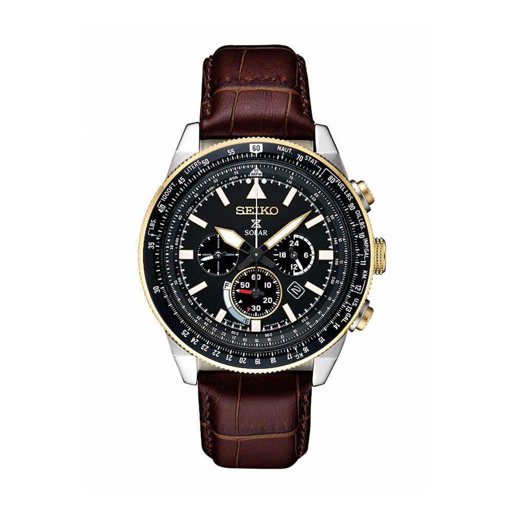 Seiko Men's Prospex Solar Chronograph With Brown Leather Strap by Seiko