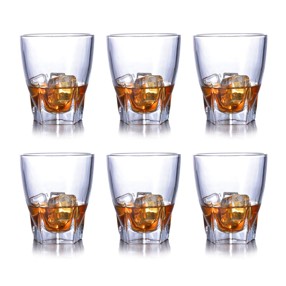 Set of 6 Lead-Free Whiskey Beer Glasses Crystal Vodka Whisky Liquor Glassware