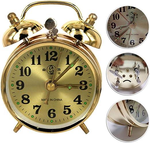 AffoOn Reloj Despertador Mecánico De Oro Reloj De Mesa De Cuerda ...