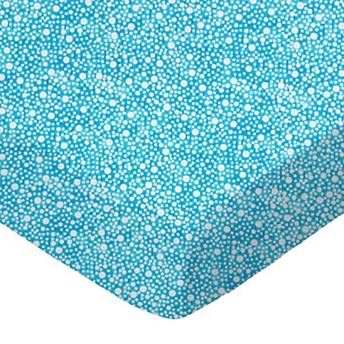 (SheetWorld Fitted 100% Cotton Percale Cradle Sheet 18 x 36, Confetti Dots Turquoise, Made in USA)