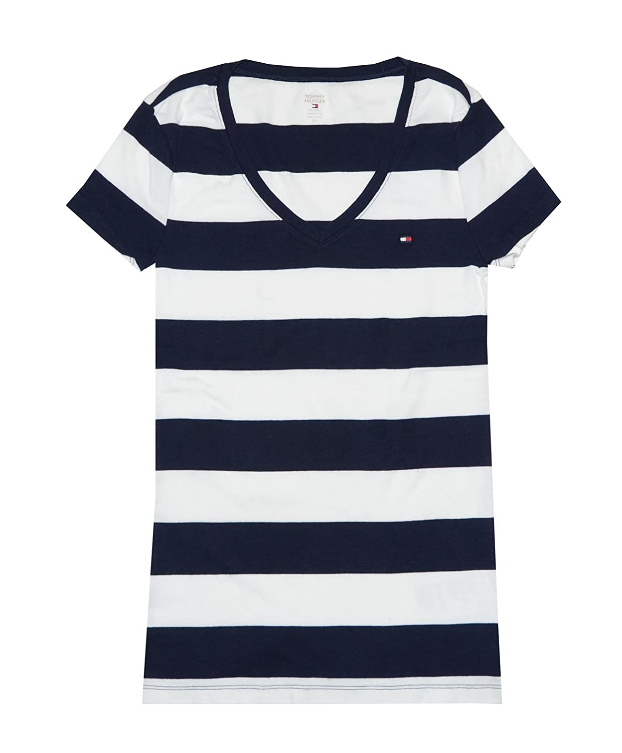 Amazon.com: Tommy Hilfiger Women Wide Stripes Logo V-Neck T-Shirt: Clothing