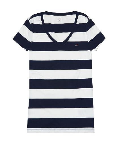 Tommy Hilfiger Women'S Wide Stripes Logo Camiseta con Cuello EN v