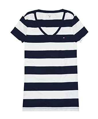 d337547a778c4 Tommy Hilfiger Women s Wide Stripes Logo V-Neck T-Shirt  Amazon.ca ...