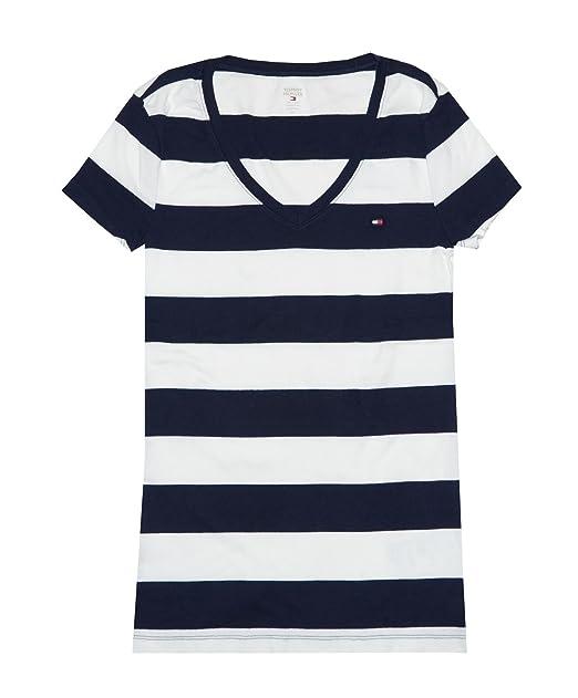 Tommy Hilfiger Camiseta Basica de Rayas en Cuello V para