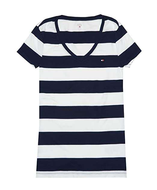 500f4052 Tommy Hilfiger Women's Wide Stripes Logo V-Neck T-Shirt: Amazon.ca ...