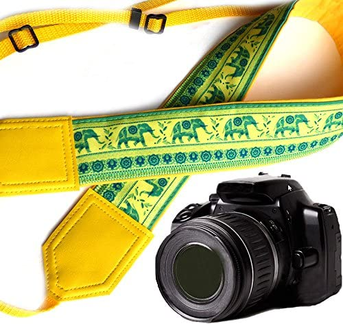 Bright Yellow DSLR//SLR Camera Strap with Paisley Motives Light Weight and Well Padded Camera Strap Ethnic Camera Strap Lucky Elephants Camera Strap Code 00167 Durable
