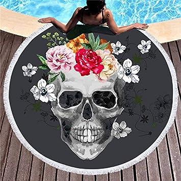 n - Toalla de baño Grande para Mujer, diseño de Calavera de azúcar en 3D, Tela comprimida rápida, 2, 150cmX150cm: Amazon.es: Hogar