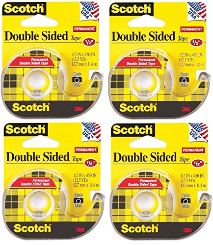 Scotch 137 Double-Sided Office Tape with Hand Dispenser, 1/2 x 450 Inches (Pack of 4)