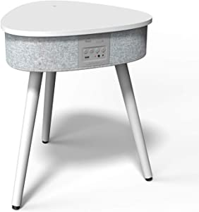 Portable Smart Side Table Bluetooth Speaker with Wireless Charger and USB Charging Dock, Modern Home Studio Smart Table Multifunctional (Cream)