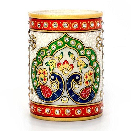 Jaipur Raga Golden Meenakari Mayur Design White Marble Fashionable Pen Stand Standard