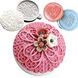 Anyana 3pcs set Fondant Impression sugar lace molds fondant impression lace wedding mould Silicone imprint mold Cake Decorating Supplies for Cupcake topper Decoration