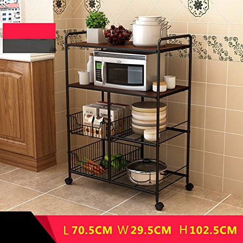Trolley Bowl (LXLA- 4-Tier Kitchen Shelf Can Move Anywhere Trolley Storage Rack Floor-standing Microwave Oven Vegetables Bowl 70.5×29.5×102.5cm (Color : Brown, Size : With wheels))
