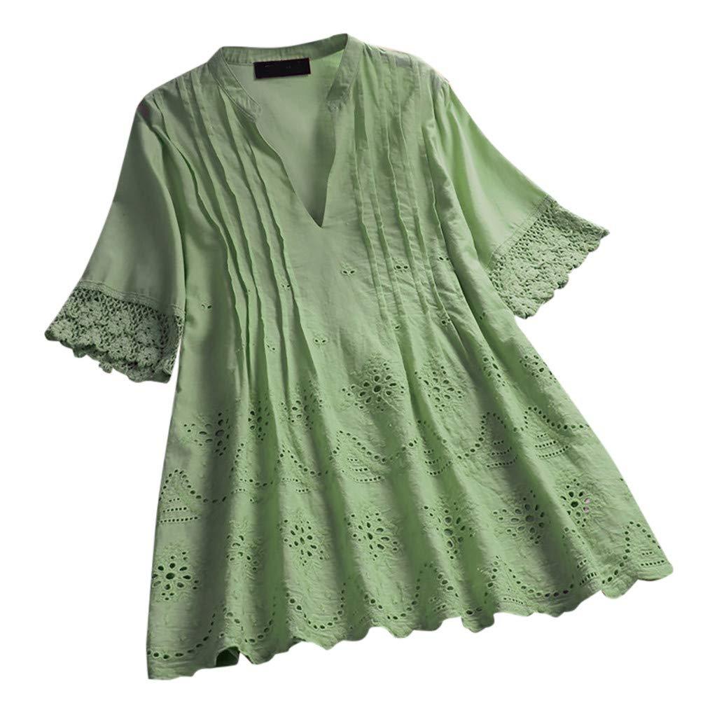 CAOQAO Elegant V-Ausschnitt Langarm Casual Oberteile Hemd Lose Sweatshirt Damen-Weinlese-Spitze-Normallack-V-Ausschnitts-Kurzschluss-HüLsen-BeiläUfige Spitzen-T-Shirt Bluse