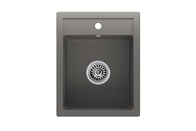 Granitspüle grau, 1-Becken, Siphon, Spülbecken, Küchenspüle ...