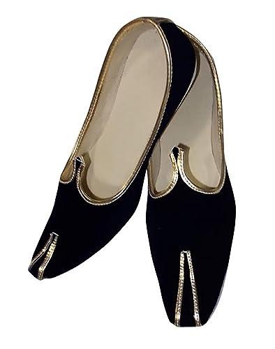 Mens Royal Look Mens Black Velvet Mojari Indian Wedding Designer Shoes JUTTI102