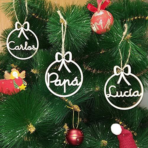 Adorno Navide/ño para el /Árbol de Navidad Chimenea. DeNuevo Bolas de Navidad Personalizadas Fabricadas en Madera MDF de 3mm Modelo 1 Puerta Cuerda para Colgar incluida