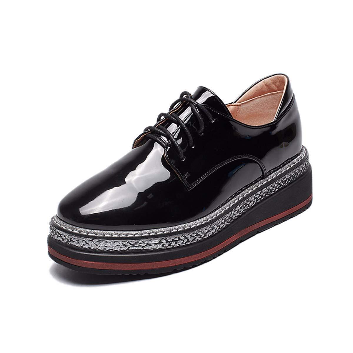 Noir GTVERNH Chaussures Femmes Chaussures Chaussures De Cuir épais Muffin 4 Cm des Chaussures des Souliers des Chaussures Unique pour Les étudiants. Thirty-nine