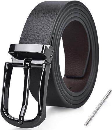 NUBILY Cinturon Hombre Cuero Negro Marrón Jeans Reversible Piel ...