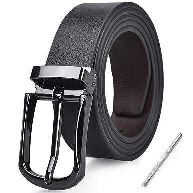 NUBILY Cinturon Hombre Cuero Negro Marrón Jeans Reversible Piel Cinturón para Hombres Clásico Negocios Casual Trabajo Traje Hebilla Cinturones