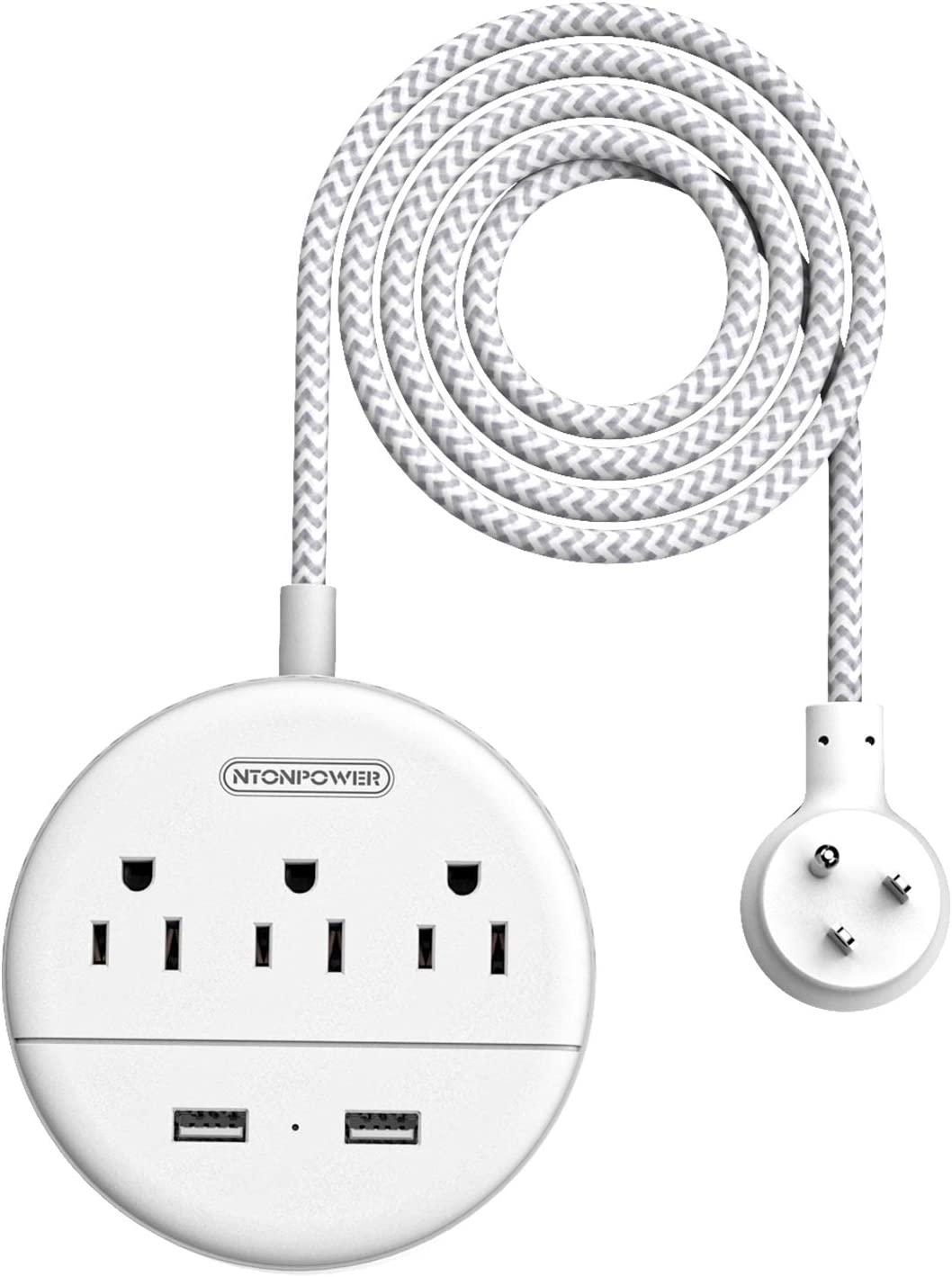 NTONPOWER Braided Power Strip Flat Plug with USB, Compact Nightstand Desktop Charging Station with 3 Outlets 2 USB Ports, Wall Mount Small Size for Dorm Nightstand Home Office, White