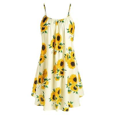 WENOVL Casual Dresses for Women, Fashion Women Slash Neck Sleeveless Draped Sunflower Print Strap Mini Dress at Women's Clothing store