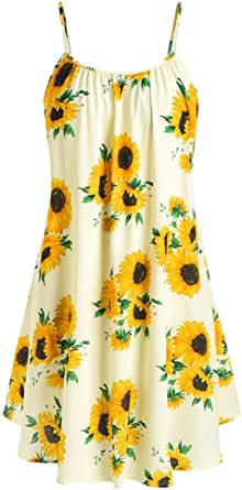 MURTIAL Womens Short Sleeve Bow Knot Bandage Top Sunflower Print Mini Dress Suits Gold,L