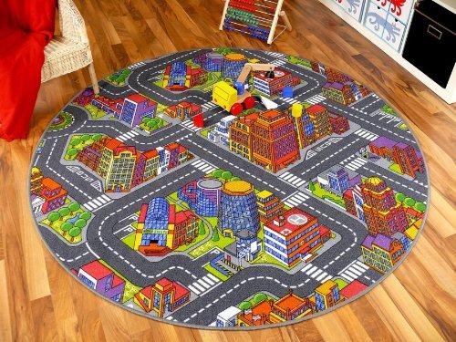 Kinder Spiel Teppich Straßenteppich 3D Big City Grau Rund in in in 7 Größen B00AEADN5A Teppiche f5689c