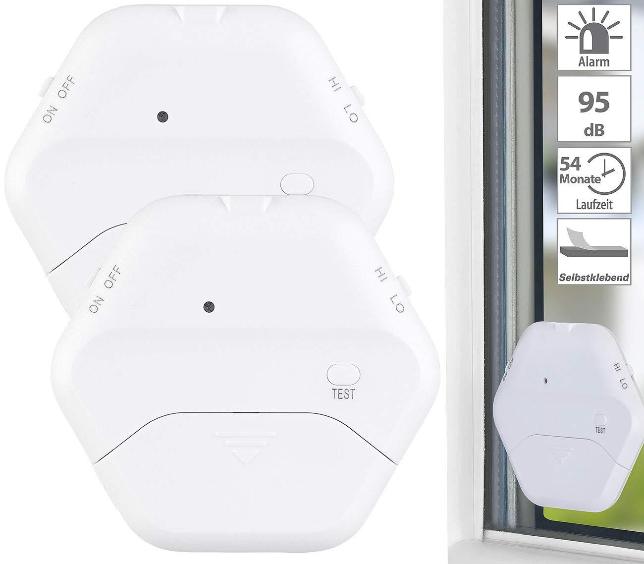 VisorTech Fensteralarm: 2er-Set extrad/ünne Glasbruchmelder 2 Stufen Glasbruch-Alarm 95 dB 54 Monate