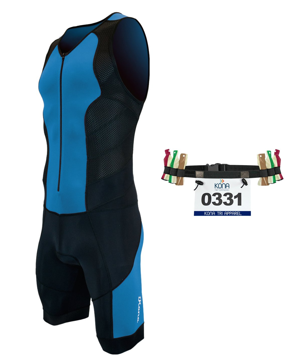 Kona II Men's Triathlon Suit - Sleeveless Speedsuit Skinsuit Trisuit with Storage Pocket and Bonus Race Bib Belt (Blue/Black, Small)
