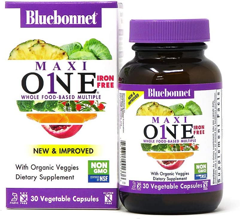 Bluebonnet Nutrition Maxi One (Iron-Free), Whole Food Multiple, Enzymes, Energy, Vitality, Gluten-Free, Kosher, Dairy-Free, Vegetarian Friendly, Soy-Free, Non-GMO, 30 Vegetable Capsule, 1 Month Supply