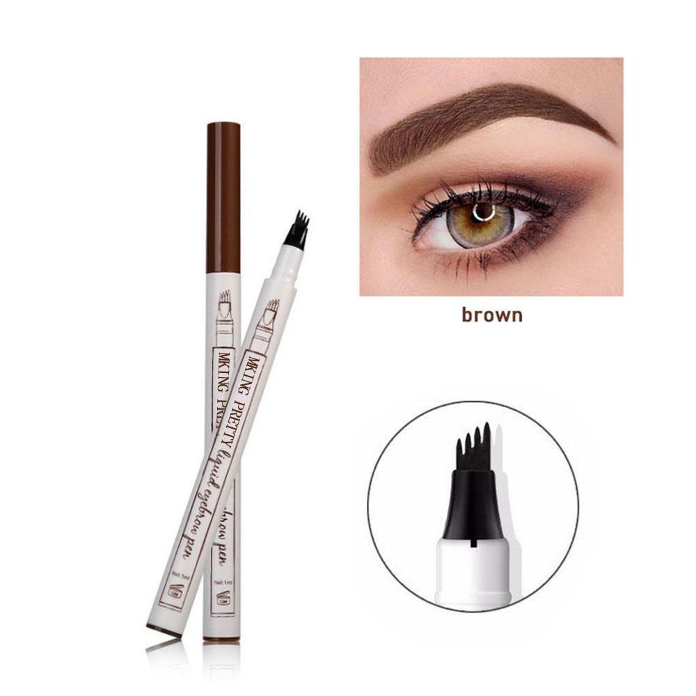 Eyebrow Pen with Three/Four Fork Tip Eyebrow Liquid Eyebrow Pen Long Lasting Tint Dye Cream Waterproof Microblading Pen Eyebrow Pencil for Eyes Makeup (#Brown) Foonee