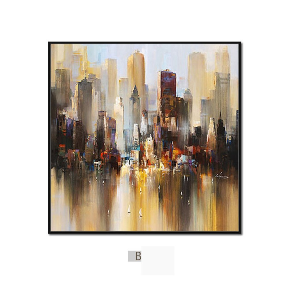 STTS Modern minimalist abstract city painting, triple living room sofa background wall decoration painting, dining room bedroom wall painting,A,5050 by STTS