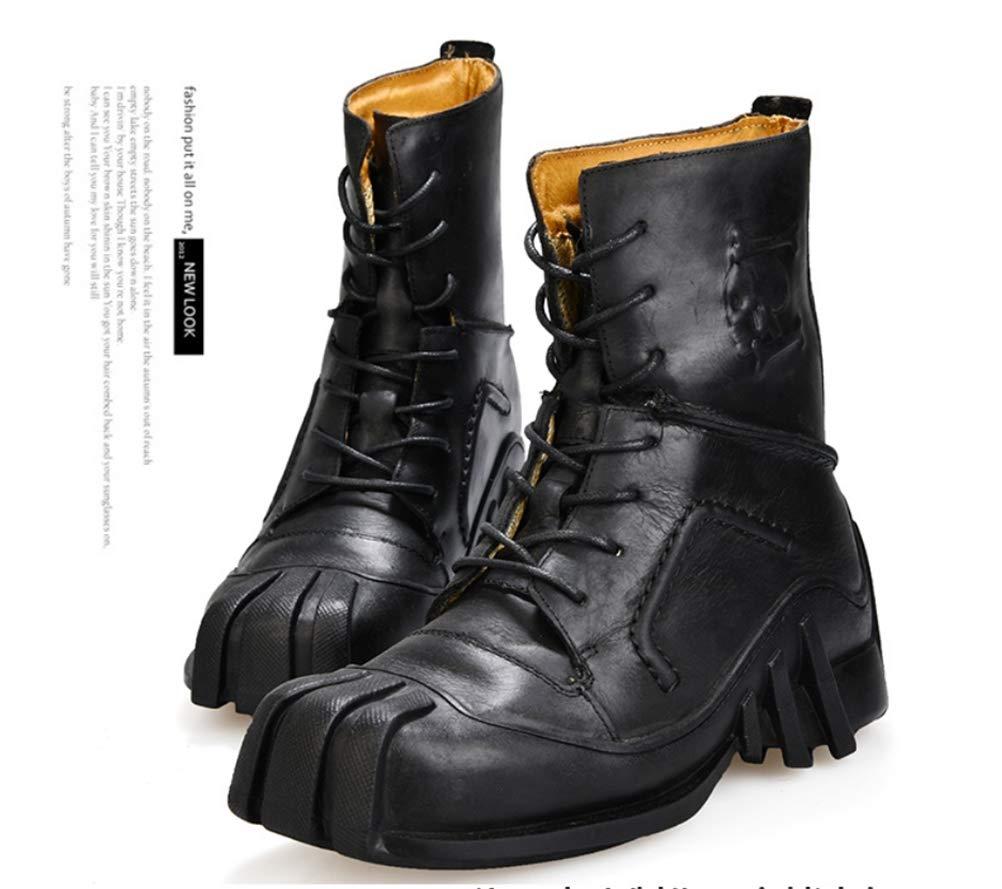 Jiahe Jiahe Jiahe Herren Martin Stiefel Handgemachte Wasserdichte Rutschfeste Schädel Punk Motorrad Stiefelies Western Biker Riemchen Leder Schuhe (Große Größe),schwarz,40 0fecc8