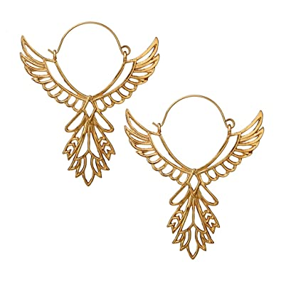 002bcc6d0 Amazon.com: MINGHUA Bohemia Hollow Out Thunderbird Shape Drop Earring Women  Alloy Big Wing Feather Piercing Hook Earrings (Gold): Jewelry