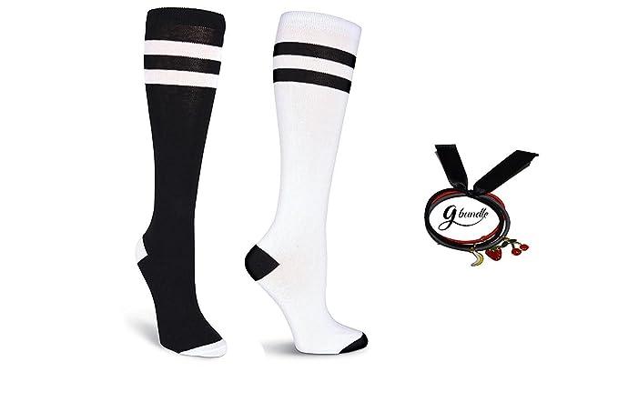 K.Bell calcetines de novedad para mujer sobre la rodilla (grande, blanconegro /