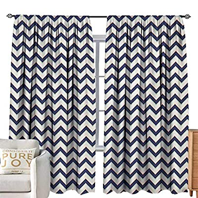 NUOMANAN Blackout Curtains Zig Zag,Geometric Retro Stylized Pattern with Funk Art Effects Featured Details Graphic,Multicolor,for Room Darkening Panels for Living Room, Bedroom 120