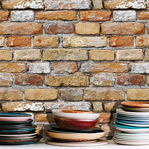 (7202 Retro Brick Wallpaper Roll, Brown/Beige Vintage Faux Brick Panel Wallpaper Bedroom Living Room Bar Wall Decoration 393.7in×20.9in)