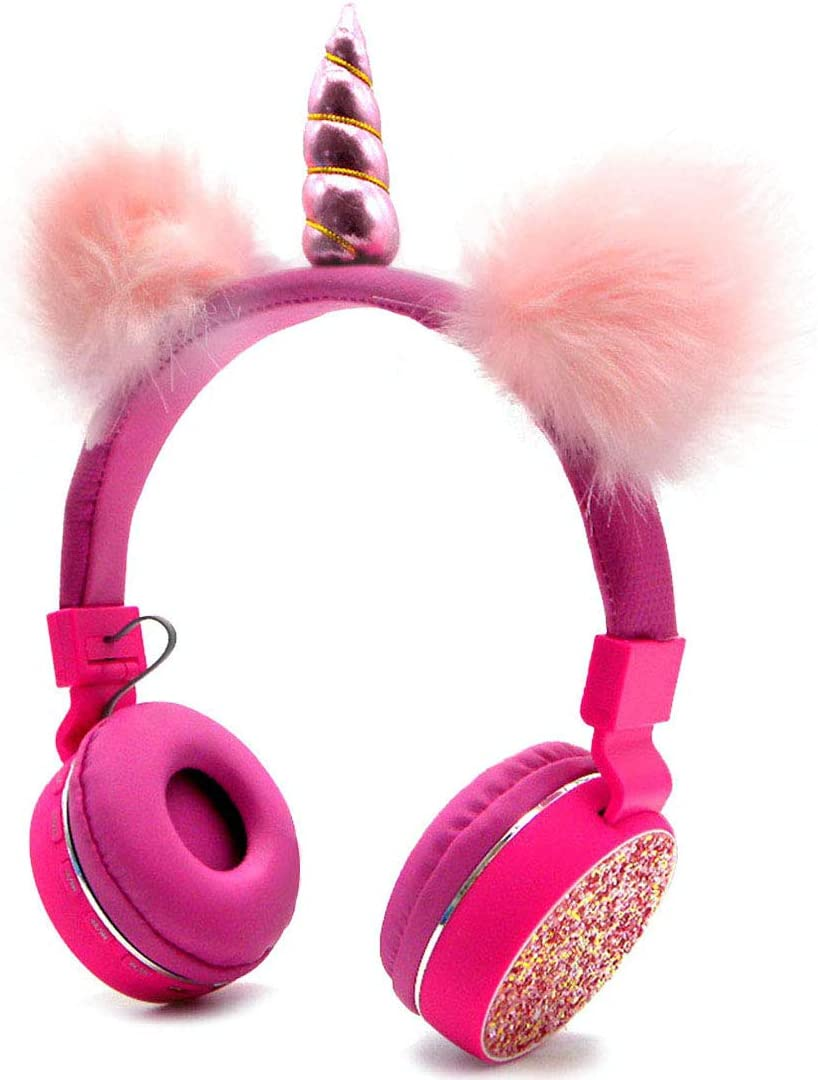 Bluetooth 5.0 Unicorns Headphones with Fluffy Cat Ears for Kids, Kids Headband Earphone Foldable Headset Rechargeable Support TF Card, FM, Aux in (Pink)
