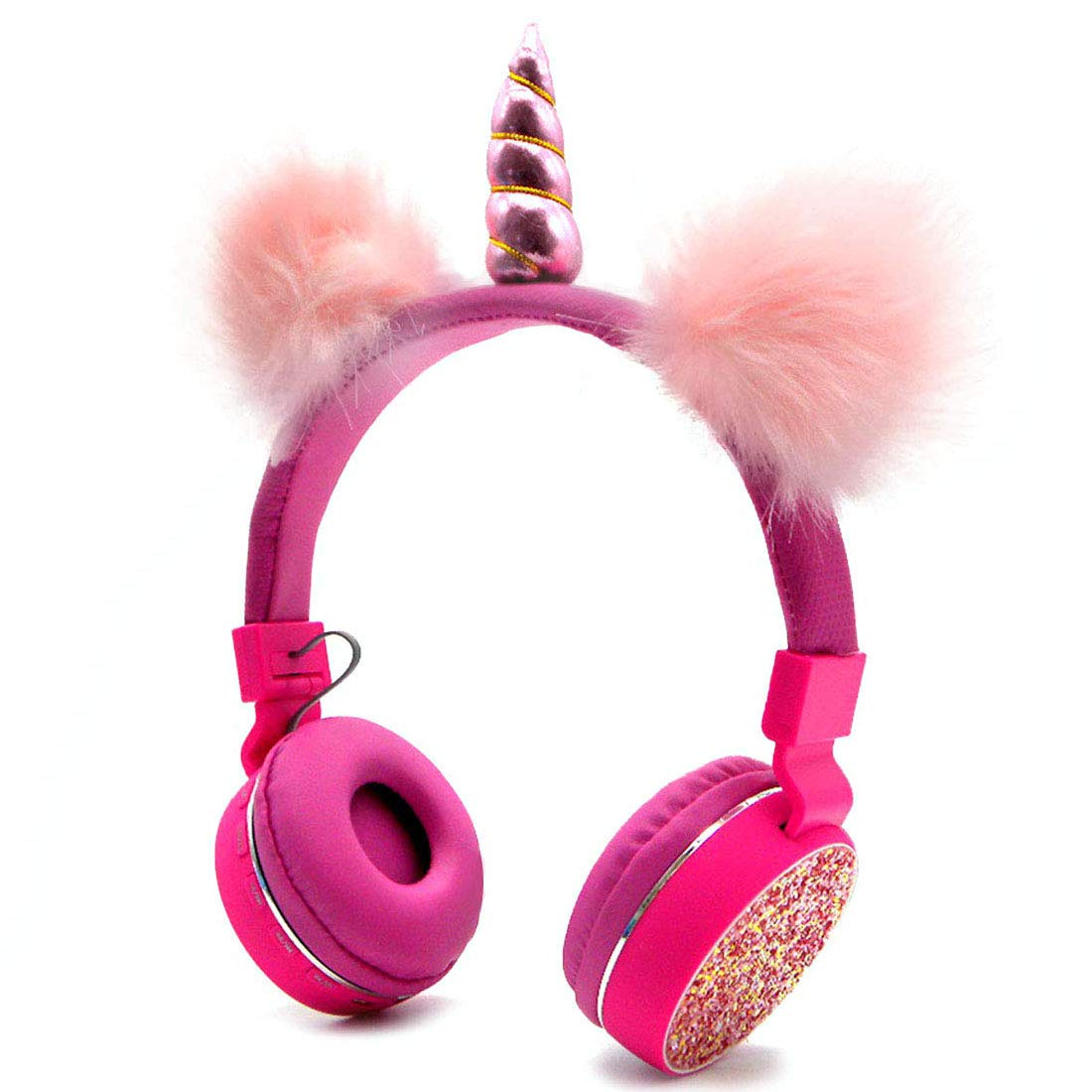 Bluetooth 5.0 Unicorns Headphones with Fluffy Cat Ears for Kids, Kids Headband Earphone Foldable Headset Rechargeable Support TF Card, FM, Aux in Pink