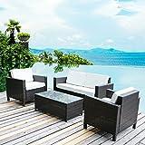 Merax 4 PC Outdoor Rattan Patio Furniture Set PE Rattan Wicker Sofa Set Garden Lawn Sofa with Cushions (Beige)